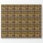 "[ Thumbnail: Brown, Imitation Gold Look ""96th Birthday"" Wrapping Paper ]"