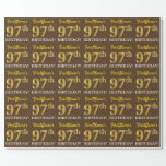 "[ Thumbnail: Brown, Imitation Gold Look ""97th Birthday"" Wrapping Paper ]"