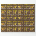 "[ Thumbnail: Brown, Imitation Gold Look ""98th Birthday"" Wrapping Paper ]"