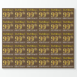 "[ Thumbnail: Brown, Imitation Gold Look ""99th Birthday"" Wrapping Paper ]"