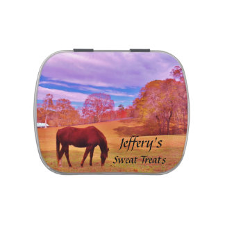Brown in a dreamy colored field jelly belly candy tin