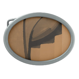 Brown industrial style abstract. oval belt buckle