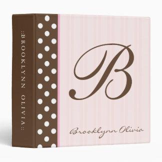 """Brown inicial Polkadots/rayas rosadas Carpeta 1 1/2"""""""