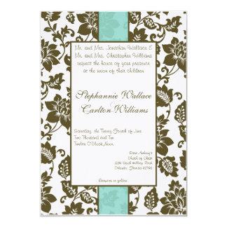 """Brown/invitación floral azul del boda del damasco invitación 5"""" x 7"""""""