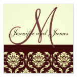 Brown Ivory Damask  Monogram Wedding Invitation