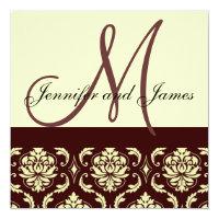 Brown Ivory Damask  Monogram Wedding Invitation
