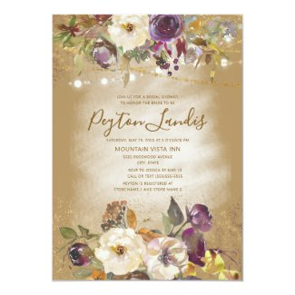 Brown Ivory Purple Floral Glitter Bridal Shower Invitation