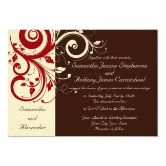 Brown/Ivory/Red Reverse Swirl Wedding Invitations