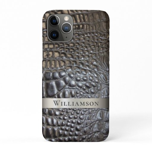 Brown Ivory Reptile Digital Leather Titanium Metal iPhone 11 Pro Case