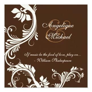 "Brown ivory wedding anniversary engagement 5.25"" square invitation card"