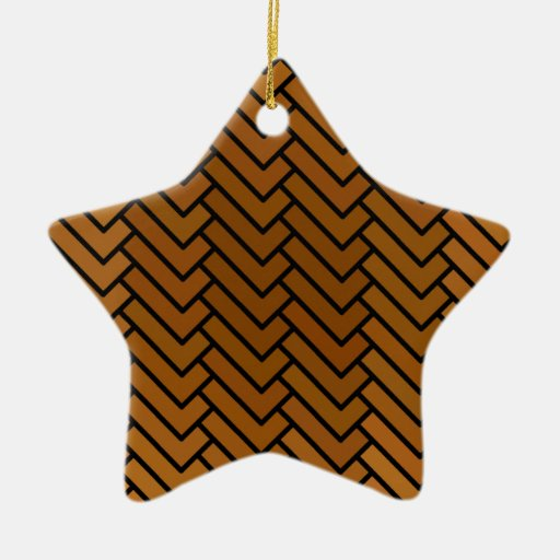 Brown J-Hook Double-Sided Star Ceramic Christmas Ornament