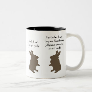 Brown Jelly Bean Bunnies Two-Tone Coffee Mug