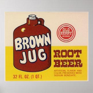 brown jug rootbeer label poster