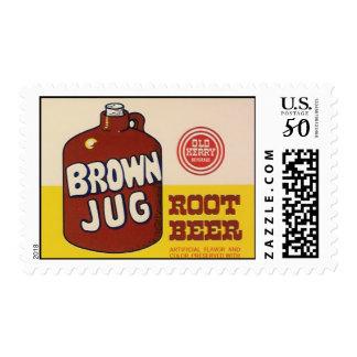 brown jug rootbeer postage stamp