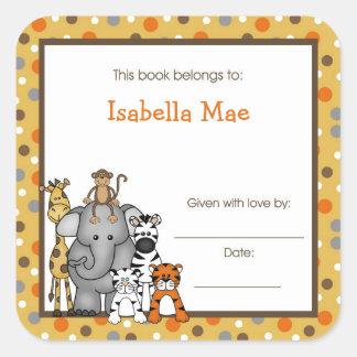 Brown Jungle Animals Book Plate bookplate label Square Sticker