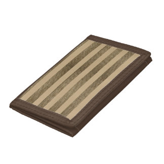 Brown jute and sandy stripes trifold wallets