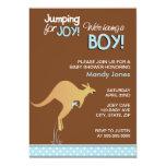 Brown Kangaroo Jumping for Joy Boy baby shower 5x7 Paper Invitation Card