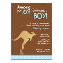 Brown Kangaroo Jumping for Joy Boy baby shower Card