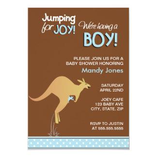 "Brown Kangaroo Jumping for Joy Boy baby shower 5"" X 7"" Invitation Card"