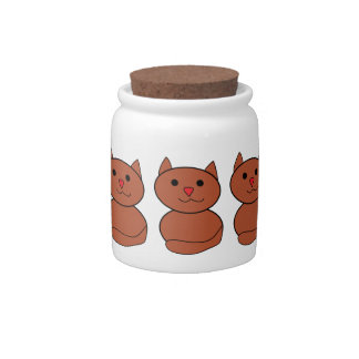 Brown Kawaii Cat Candy Dishes
