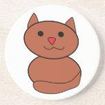 Brown Kawaii Cat Drink Coaster