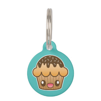 Brown Kawaii Cupcake With Custom Info Pet Name Tag