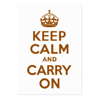 Brown Keep Calm and Carry On Business Cards