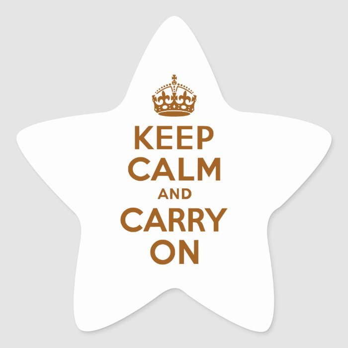 Brown Keep Calm and Carry On Star Sticker