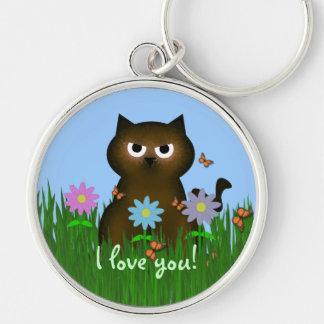 Brown Kitty: I Love You Keychain