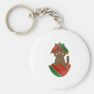 Brown Kitty In A Christmas Ornament Basic Round Button Keychain