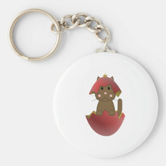 Brown Kitty In A Red Christmas Ornament Basic Round Button Keychain