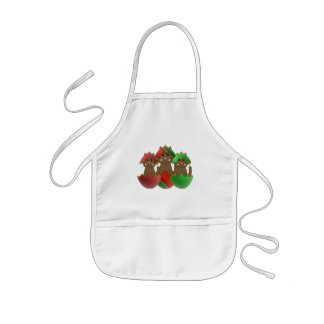 Brown Kitty In Christmas Ornaments Aprons