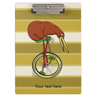 Brown Kiwi Riding On A Unicycle Clipboard