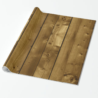 Brown Knotty Wood Planks Wrapping Paper
