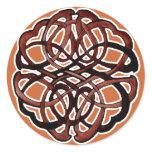 Brown Knotwork Circle Classic Round Sticker