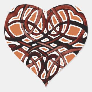 Brown Knotwork Circle Heart Sticker