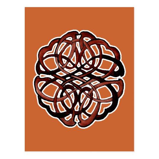 Brown Knotwork Circle Postcard