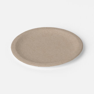 Brown Kraft Paper Background Printed 7 Inch Paper Plate