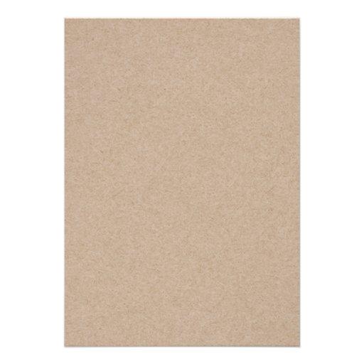 Brown Kraft Paper Background Printed Custom Invitation