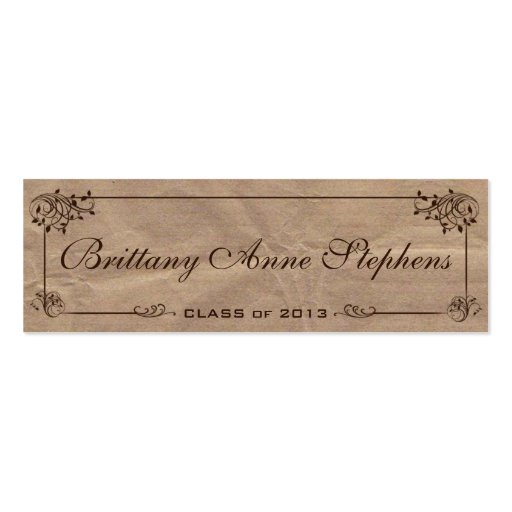 Brown kraft paper graduation name card insert business for Brown paper business cards