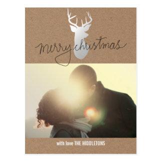 Brown Kraft Paper Silver Reindeer Christmas Photo Postcard