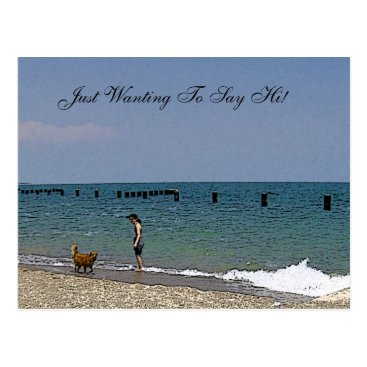 Beach Themed Brown Lab Looking over the Water Postcard