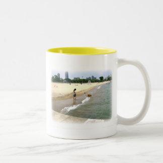Brown Lab Plays at Lake Michigan Coffee Mugs