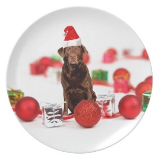 Brown Labrador Dog Christmas w Gifts Santa Hat Dinner Plate