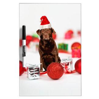 Brown Labrador Dog Christmas w Gifts Santa Hat Dry Erase Board