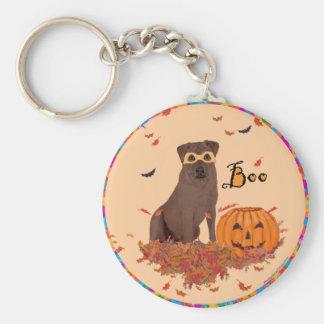 Brown Labrador Retriever Halloween Basic Round Button Keychain