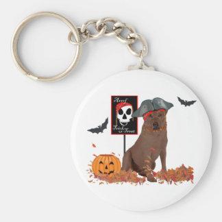 Brown Labrador Retriever Pirate Basic Round Button Keychain