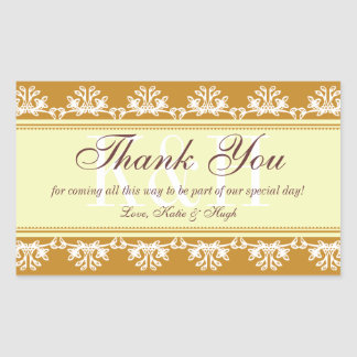 Brown lace border thank you out of town gift bag rectangular sticker