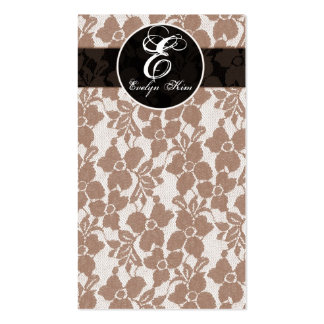 brown lace cutomize your monogram business card