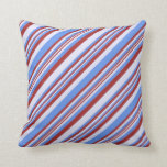 [ Thumbnail: Brown, Lavender, and Cornflower Blue Colored Throw Pillow ]